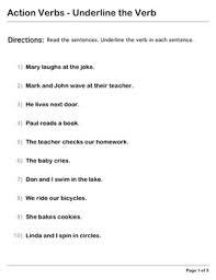explorer grammar second level action verbs underline the verb