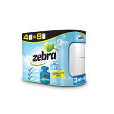 zebra tissue paper toilet paper zebra mega white 4 rolls