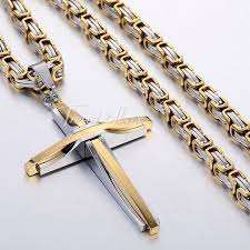 mens necklace with cross images 20 24 quot mens gold silver byzantine stainless steel chain necklace jpg