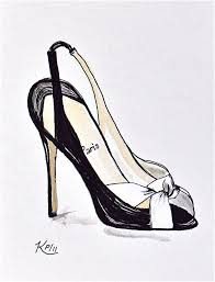 original fashion illustration pen and ink designer shoe sketch