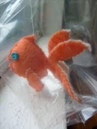 safety orange felt goldfish in a bag by manfredmonkeys on etsy