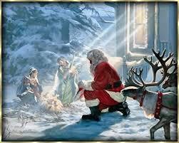 santa and baby jesus picture santa kneeling at baby jesus christmas baby jesus