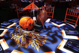 football centerpieces football appropriate centerpieces featured pom poms helmets and