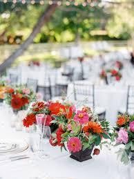 reception décor photos vibrant flower low centerpieces inside