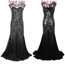 prom accessories uk women s 1920s black sequin gatsby maxi evening prom dress uk