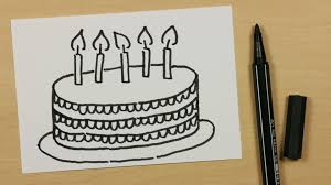 how to draw a happy birthday cake easy cartoon doodle for kids