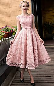 formal gown macloth cap sleeves lace cocktail dress pink midi wedding party formal