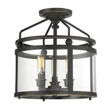 flush mount ceiling light fixtures oil rubbed bronze shop quoizel norfolk 11 87 in w oil rubbed bronze clear glass semi