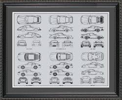 wall blueprints porsche 911 automobile blueprint art wall hanging auto car gift