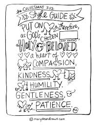 practicing kindness colossians 3 12 style guide coloring