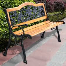 iron park benches costway patio park garden bench porch path chair furniture cast
