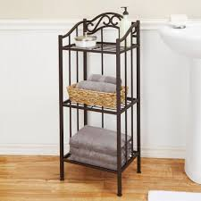 Bathroom Tower Shelves Chapter 3 Tier Ornate Metal Bathroom Floor Shelf Bronze Walmart