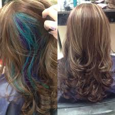 short hairstyles with peekaboo purple layer red and highlights all over and a blue and purple peekaboo hair