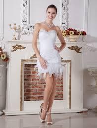 robe de mariã e de crã ateur chic white feather sweetheart neck sheath net wedding dress for