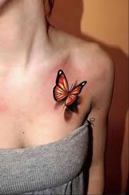 3d butterfly on front shoulder ink