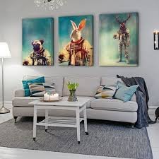 new 3 animal astronaut ornament paintings and framed for