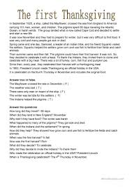 why was thanksgiving first celebrated first thanksgiving worksheet free esl printable worksheets made