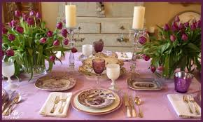 Light Pink Table Cloth Tablescape Orchid Color Theme With Spring Tulips Swede