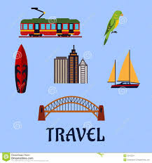 australian travel and journey flat symbols stock vector image