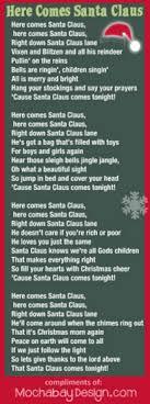 printable lyrics print here comes santa claus christmas song lyrics bookmark