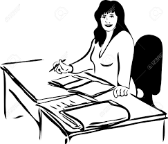 sketch of a woman at the table with business papers royalty free