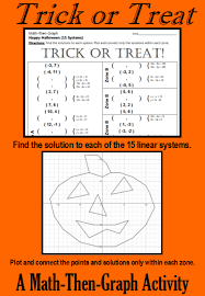 trick or treat a math then graph activity solve 15 systems