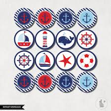 Anchor Decorations For Baby Shower Nautical Cupcake Toppers Nautical Baby Shower Printables Navy