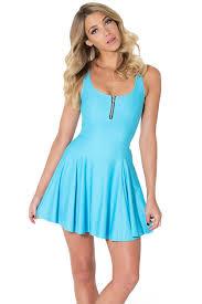 light blue zip up front sleeveless skater dress casual dresses