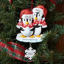 personalized we re expecting penguin couples ornament