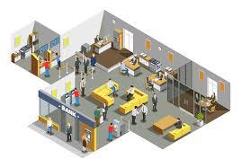 banque de bureau composition isométrique intérieure en bureau de banque illustration