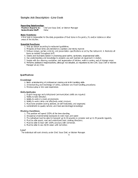 Cook Resume Examples Cook Supervisor Cover Letter Line Resume Objective Samples Format