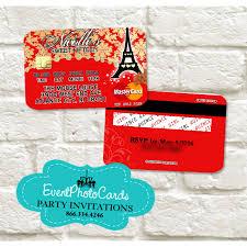 Sweet 17 Invitation Card Paris Credit Card Red U0026 Gold Quinceanera Invitations Paris
