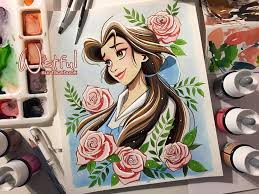 belle drawing wistful art beautyandthebeast