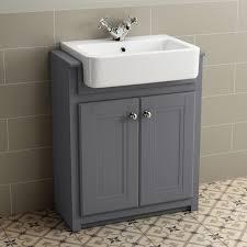 Bathroom Furniture Storage 1100mm Combined Vanity Unit Toilet Basin Grey Bathroom Furniture