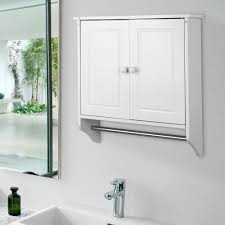 new wall mounted white wooden cabinet doors shelf towel rail
