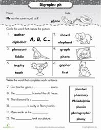 Ph Worksheet Phonics Review Digraph Ph Worksheet Education Com