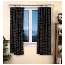 Black Curtains Bedroom Plain Lazy Dj Bedroom Cotton Curtains Set 66 X 54 Inches Black