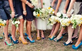 wedding shoes for grass mismatched grass bridesmaid shoes outdoor wedding inspiration