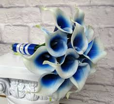 wedding flowers royal blue royal blue picasso calla wedding bouquet in bloom