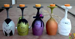 Easter Decorations With Wine Glasses by Halloween Wine Glasses Candle Holders