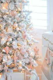 blush pink rose gold and white flocked vintage inspired christmas