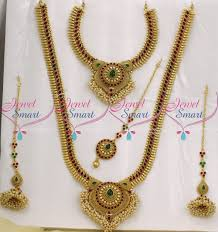 wedding necklace set red images Br9039 full bridal jewellery set red green kemp stones traditional JPG