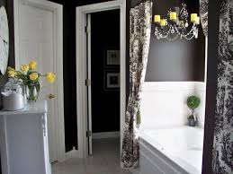 elegant black and white bathroom decor with nice curtains black