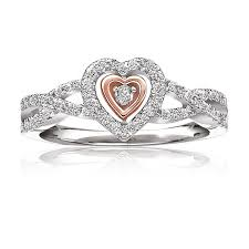 gold promise rings diamond heart 10k white gold promise ring ct t w
