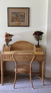 Wicker Vanity Set This Desk Set Is Made From Wicker Wood Or Rattan The Desk And