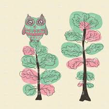 funny cartoon owl on tree full moon at night vector image 45609
