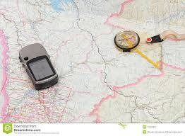Gps Map Gps And Compass On Map Stock Image Image Of Direction 17524907