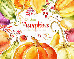 hand painted pumpkin halloween clipart pumpkins 35 watercolor elements handpainted clipart fall leaves