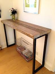 Reclaimed Wood Console Table Desk Office Console Tables Diy Projects With Pipe Sofa