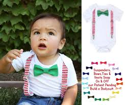 baby boy christmas christmas for boys white suspenders green bow tie